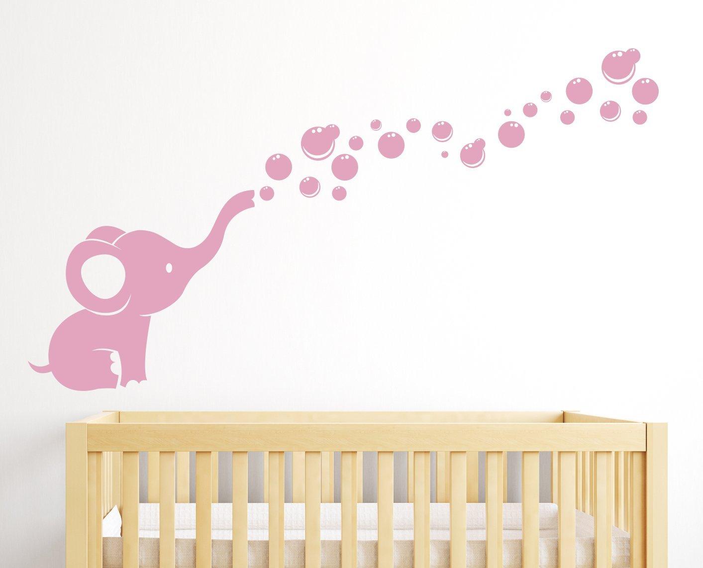 Elephant Bubbles Nursery Wall Decal Room Decor (Soft Pink)