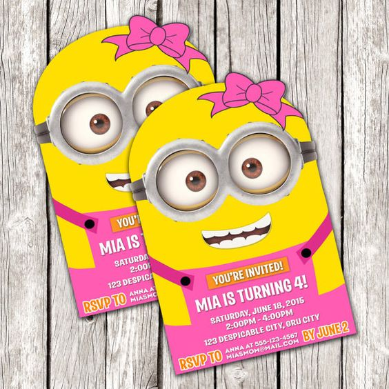 minions printable invitations